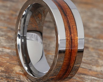 Mens Wood And Tungsten Wedding Band Ring Redwood Inlay