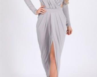 Draped backless maxi dress