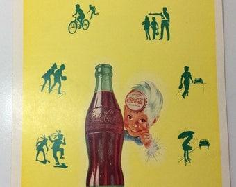 Coca Cola Vintage Writing Tablet 1950s ABC Coke Advertising Sprite Boy