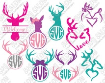Hunting Antler Deer Doe Buck Monogram Cutting File / Clipart Set in Svg, Eps, Dxf, Png, and Jpeg Format for Cricut and Silhouette Software