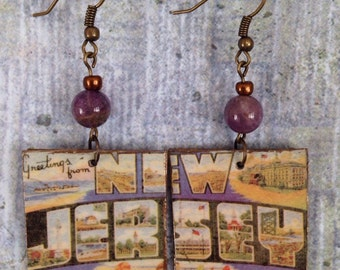 Vintage Look NJ Postcard Earrings, Up-Cycled Cereal box Earrings
