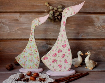 Wood Home Decor Rustic Goose Set of 2 Wood Statuette Easter Home Decor Interior Figurine Wood Geese Centerpiece Shabby Country Goose Decor