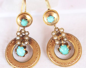 Antique Victorian Earrings 15k Gold Pearls Turquoise Etruscan Revival (#5991)
