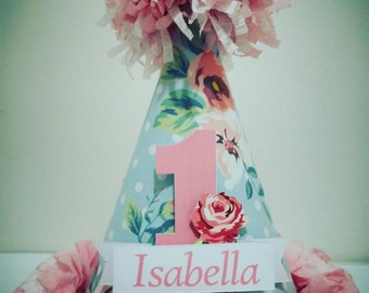 1st Birthday Vintage Rose Custom Made Party Hat