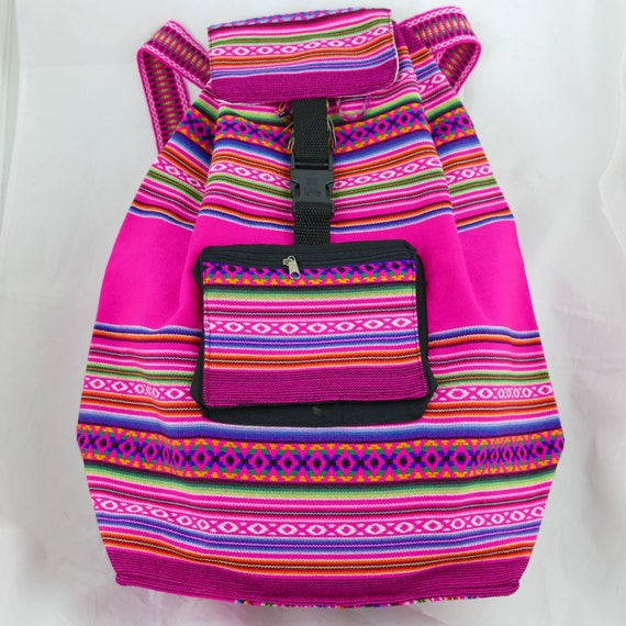 """Pink Backpack Made with Ethnic """"Manta"""" Fabric Great Capacity Expandable Drawstring Bag, Resistant Light Weight Unique Design"""