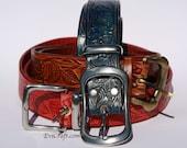 Custom order for Sam - Floral ornament hand Embossed Leather Belts 2 pcs, blue belt, handmade belt