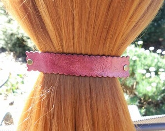 Leather French hair barrette, Handmade Tooled Leather Hair Clip, women Hair Accessory, burgundy flower, hair fashion, Ponytail Holder