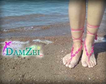 Barefoot Anklet, Foot Jewelry, Barefoot Sandal, Hot Pink Barefoot Sandal, Lace Barefoot Sandal,