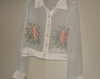 Vintage See-Through Top with Embroidery '50-60's SZ L