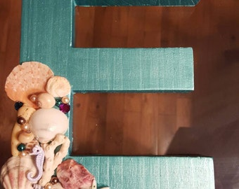 Under the Sea/Mermaid Theme Painted Wooden Letter, 8 inch