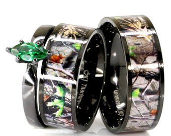 3 Pc Mens Womens Black Camo And Green Emerald Cubic Zirconia Marquise Stainless Steel Titanium