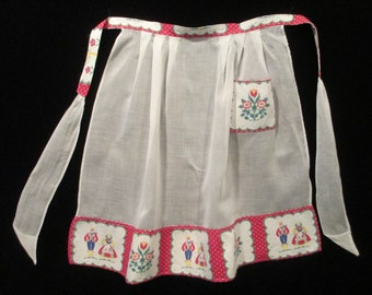 Vintage 1950's Half Apron Red and White Pennsylvania Dutch Print and Organdy