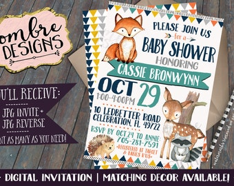 Woodland Baby Shower Invitation, Forest Animals, Woodland Party,  Matching Woodland Baby Shower Decorations Available