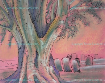 Tree in Rye Churchyard - Giclee Print from original ink & soft pastel painting