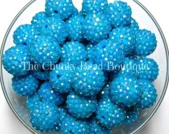 20mm dodger blue AB rhinestone bead