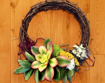 Succulent Living  Wreath, please indicate picture price will be quoted upon request of different style