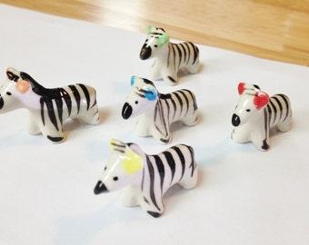 5 pcs Miniature Zebra Figurines, Mix color, Terrarium, Fairy Garden, Handmade