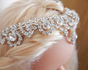 Bridal Headpiece, Vintage Style, Clear Crystals, Wedding Headband, Edwardian Style, Costume Jewellery, Bridal Jewellery