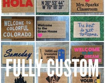 Completely custom welcome mat / Monogram, handpainted, funny doormat/ Wedding Gift / Housewarming Gifts / Outdoor Welcome Mat / Gift For Her