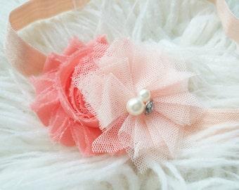 Coral and blush headband, Baby girl headband, Light peach headband, Coral headband, Toddler headband, Peach chiffon flower, Peach headband