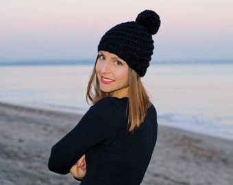 Black womens knit hat, womens pom pom hat, winter hats for women, chunky hat, crochet womens hat, black womens beanies, crochet pom pom hat