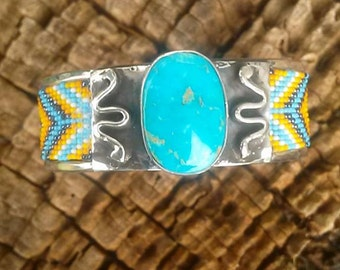 Beautiful blue and yellow beaded turquoise cuff bracelet