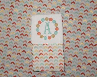 Letter Dot Burp Cloth