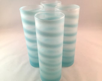 SALE - Blue Swirl Glasses - Set of 4 - Vintage Barware