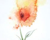 Orange and yellow flower, watercolour painting, original - Size 11 x 7 inches approx - Signed and dated, home decor