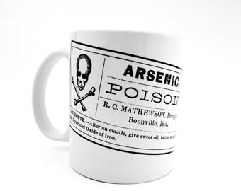 Poison Label Coffee Mug, Arsenic Label, Skull Mug, Antique Style, Gothic Decor, Grungy Mug, Coffee Cup, Skull Bones, Vintage Labels,Handmade