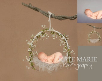 Whimsical Floral Newborn Photography Digital Backdrop