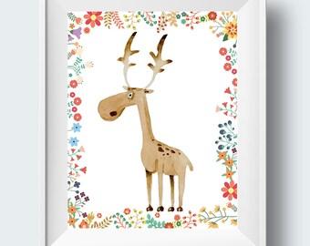 nursery printable, nursery wall art, nursery wall art printable, forest friends, woodland art, nursery prints, children's playroom wall art