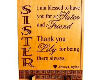Sister Valentines day Gift,Gift to my lovely Sister,Sister Birthday Gift,Personalized Sister Gift,Brother to Sister Gift,Sister to Sister