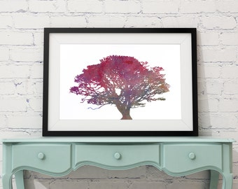 Sunset Tree, watercolor tree print, nature wall art