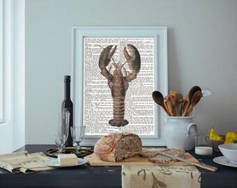 Lobster dictionary print, vintage dictionary art, Dictionary print, Nautical print
