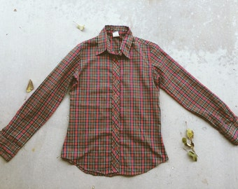 Vintage Wrangler Red Plaid Button Up - Size S