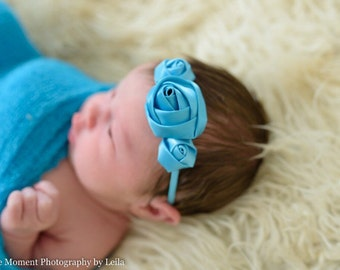 Turquoise baby headband - newborn hair band - girls headband - hair bands - skinny elastic headband - newborn photo props - blue hair band