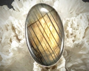 Silver Labradorite Statement Ring ~ Size 5.25