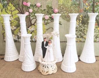8 Milk Glass Vases Milk Glass Bud Vases Wedding Vases for Wedding Decorative Vases Bulk Vases Wedding Party Centerpiece Vases White Vases