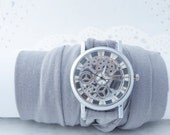 Watch Skeleton Unisex Wrist Watches Bracelet watch Steampunk watch  Infinity bracelet gift for teen girl Gift box Christmas Gifts