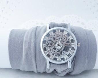 Watch Skeleton Unisex Wrist Watches Bracelet watch Steampunk watch  Infinity bracelet gift for teen girl Gift box Christmas Gifts