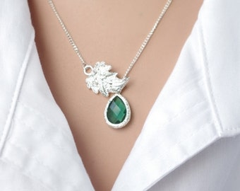 Silver Lariat Necklace Silver Leaf Lariat Necklace  Bridesmaids Gift Green Branch Necklace  Bridal Wedding Gift  Bridesmaids Gift for women