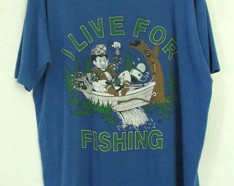 A Vintage 80's Blue Short Sleeve LIVE TO FISH,Stoner T Shirt By Jerzees.xl