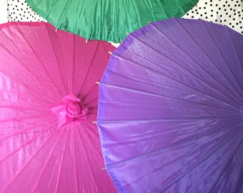 Parasols Nylon in Bold Colours  Red, Green,Purple and Hot Pink