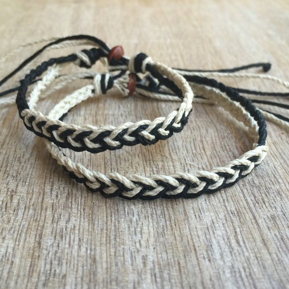 his and her bracelet black and natural couple hemp bracelet