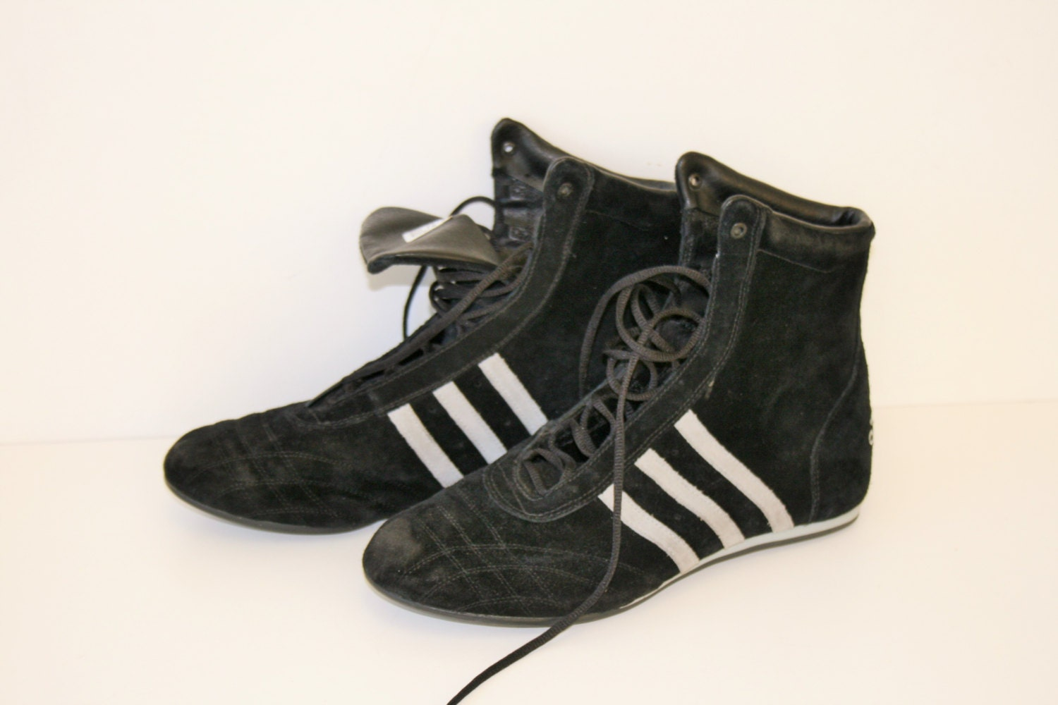 black adidas boxing boots genuine leather lace up sports