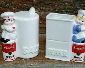 Vintage Campbell Soup Salt and Pepper Shakers, 1996 Ceramic Salt and Pepper Shakers, Collectible Campbell Soup Kids,