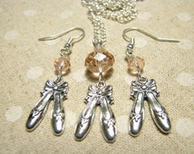 Silver pointe shoes jewelry Pointe shoes earrings Pointe shoes pendant Charming jewellery set Pink crystal Girl gift for her Valentine's day