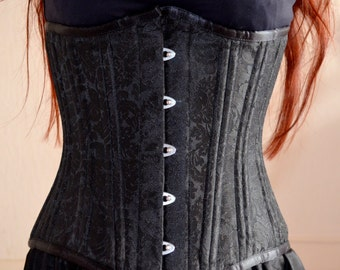 Underbust corset black brocarde with metal underwirings / Waist training or tight lacing  / Gothic Steam Punk black corset / 18 inches waist