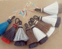 horse hair tassel  Double layer Natural horse hair colors or Bold dyed  Teal n red with natural horse hair colors 4 inches horsehair tassel